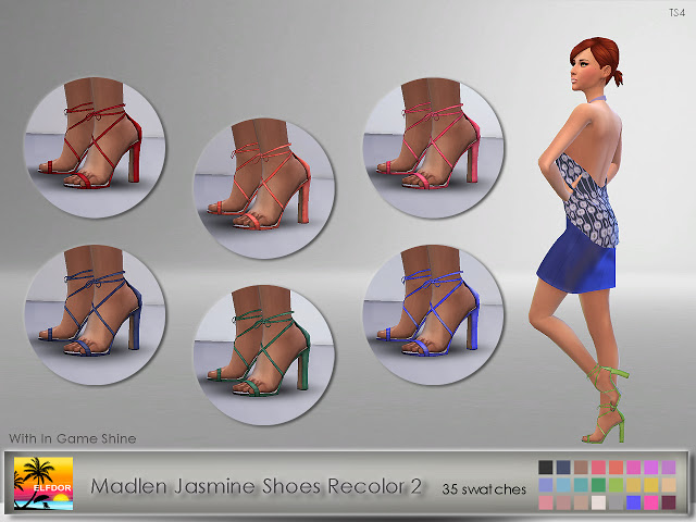 Sims 4 Madlen Jasmine Shoes Recolor at Elfdor Sims