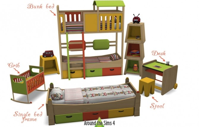 Tam Tam Kids Bedroom by Sandy at Around the Sims 4 image 1332 670x428 Sims 4 Updates