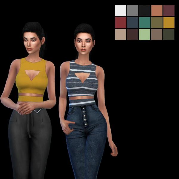 Sims 4 Itsleeloo Cutout Top 2 at Leo Sims