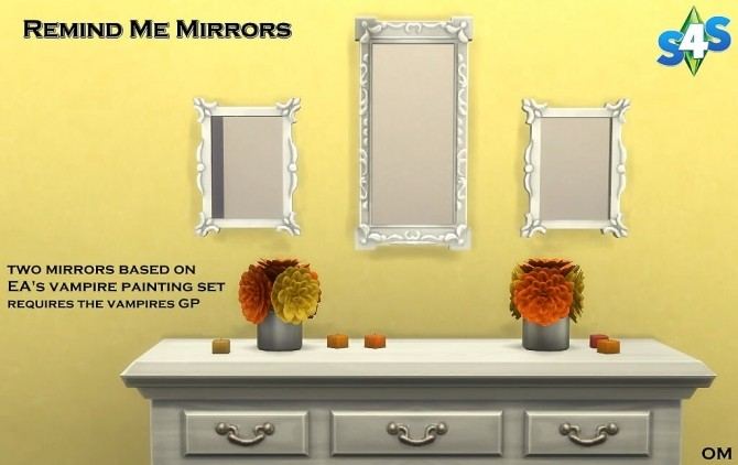 Sims 4 Remind Me mirrors by OM at Sims 4 Studio