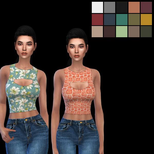 Sims 4 Itsleeloo Cutout Top 3 at Leo Sims