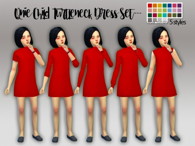 Sims 4 Turtleneck Dress Set at qvoix – escaping reality