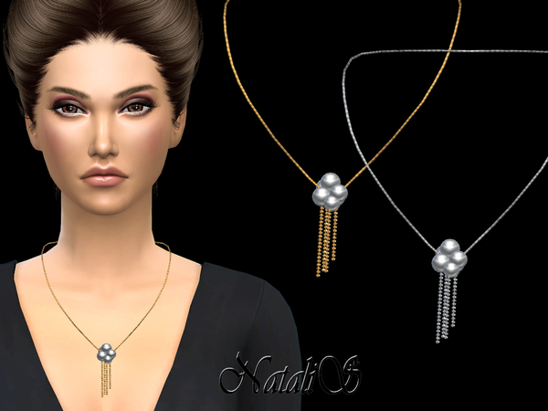 Sims 4 Pearl and chain drop necklace by NataliS at TSR