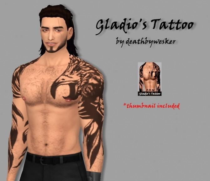 Sims 4 Gladios Tattoo by deathbyweske at SimsWorkshop