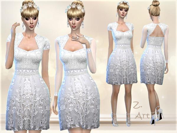 Sims 4 DreamZ 01 flower embroidered wedding dress by Zuckerschnute20 at TSR