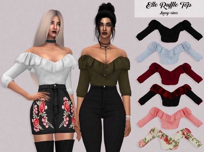 Elle Ruffle Top At Lumy Sims Sims 4 Updates
