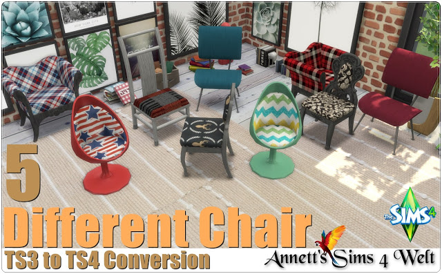 Sims 4 5 Different Chair TS3 to TS4 Conversion at Annett's Sims 4 Welt