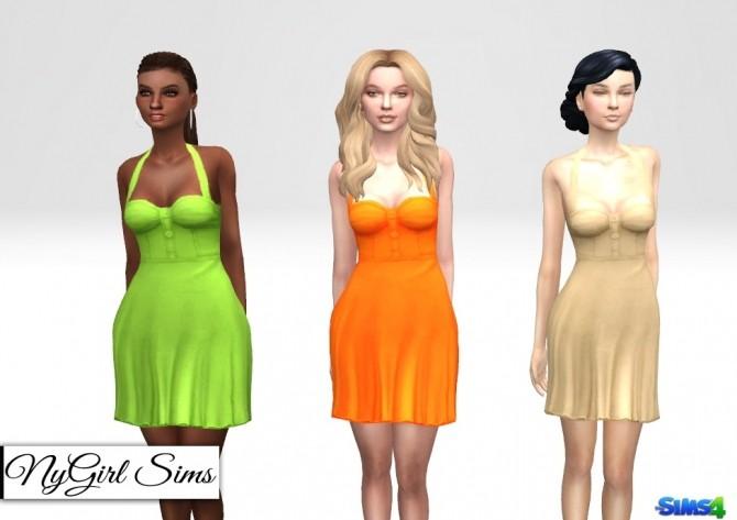 Sims 4 Retro Halter Flare Dress Solids at NyGirl Sims