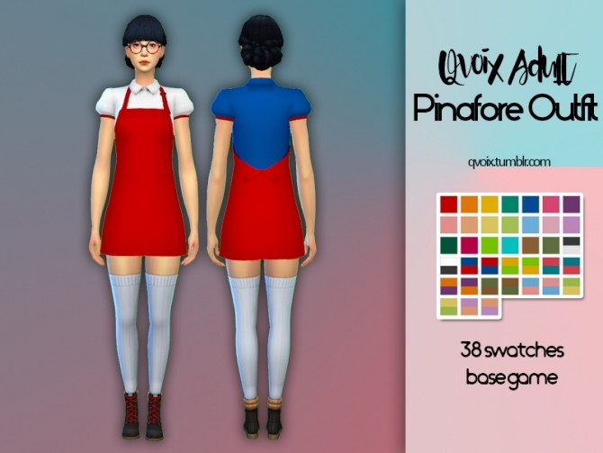 Sims 4 Pinafore Outfit at qvoix – escaping reality