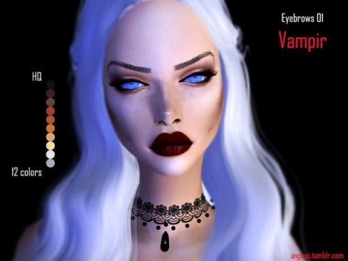Sims 4 Vampire + Vanilla eyebrows at Angissi