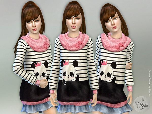 Sims 4 Panda Sweater Dress by lillka at TSR