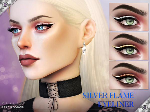 Silver Flame Eyeliner N68 by Pralinesims at TSR image 18 Sims 4 Updates