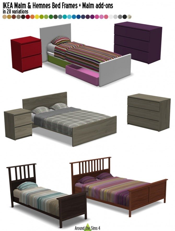 Malm & Hemnes bed frames + Malm add ons by Sandy at Around the Sims 4 image 1844 670x887 Sims 4 Updates