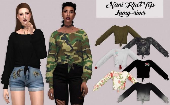 Sims 4 Nani Knot Top at Lumy Sims