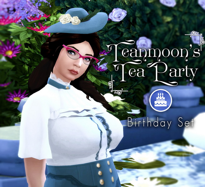 Sims 4 Teanmoon's Tea Party Birthday Set at The Plumbob Tea Society