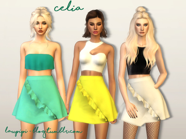 Sims 4 Celia skirt by laupipi at TSR