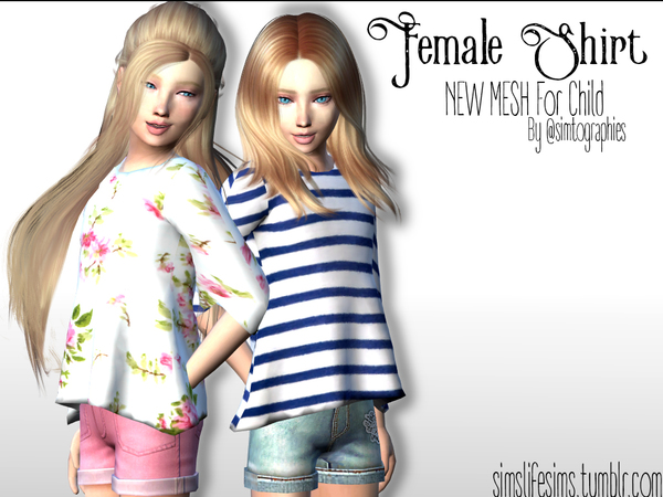 Sims 4 Child Female Shirt Long Sleeves by simtographies at TSR