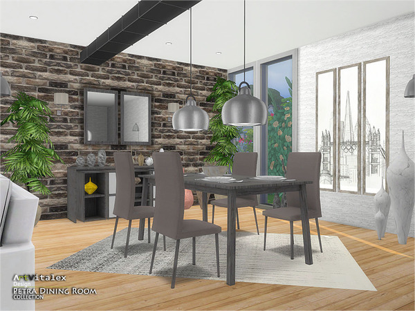 Petra Dining Room by ArtVitalex at TSR image 2018 Sims 4 Updates