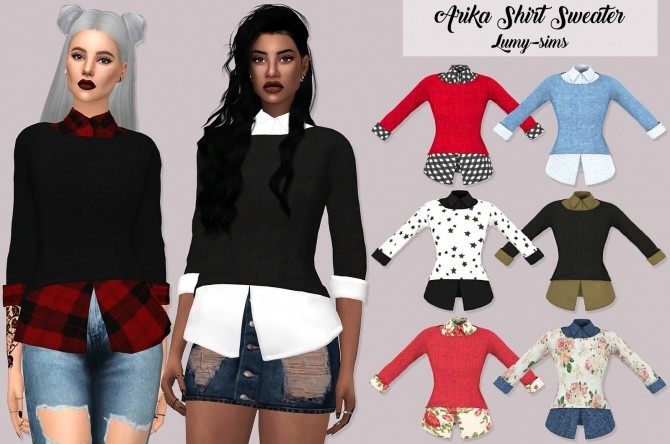 Sims 4 Arika Shirt Sweater at Lumy Sims