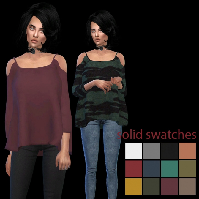 Elliesimple Open Shoulder Top At Leo Sims » Sims 4 Updates