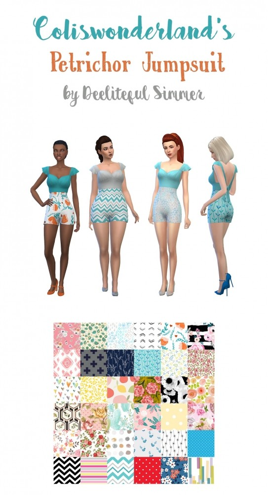Sims 4 Coliswonderlands jumpsuit recolors at Deeliteful Simmer