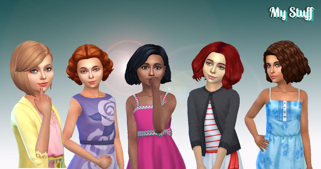 Sims 4 Girls Medium Hair Pack 5 at My Stuff