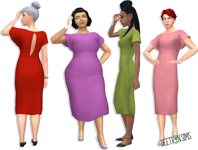 Sims 4 Claire Batwing Dress at Deetron Sims