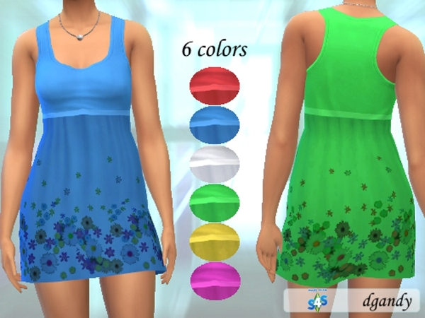 Sims 4 Flowered Sun Dress by dgandy at TSR