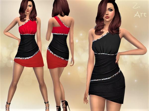 Sims 4 TrendZ 06 One shoulder stretch dress by Zuckerschnute20 at TSR