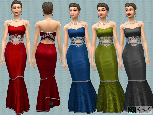 Sims 4 Silver Metallic Trimmed Dress by dgandy at TSR