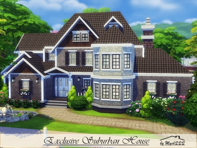 Sims 4 Exclusive Suburban House by MychQQQ at TSR