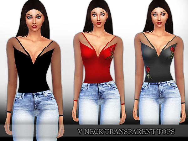 Sims 4 V Neck Transparent Tops by Saliwa at TSR