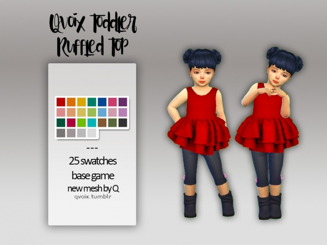 Toddler Ruffled Top At Qvoix Escaping Reality 187 Sims 4