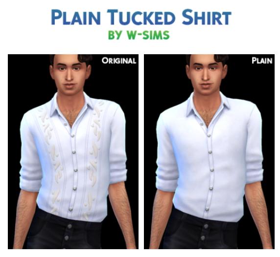 Sims 4 Plain Tucked Shirt at W Sims