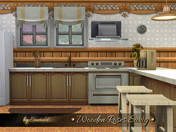 Wooden Roses Swag by emerald at TSR image 3013 Sims 4 Updates