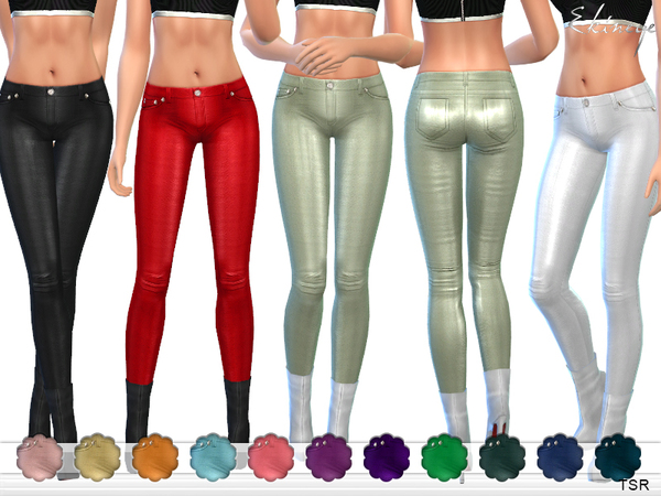 Sims 4 Leather Skinny Pants by ekinege at TSR