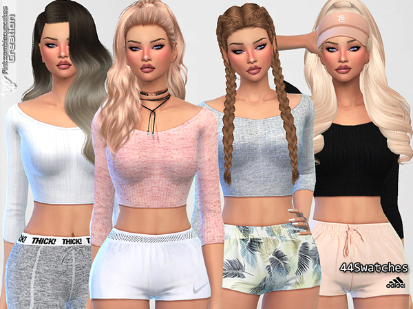 Sims 4 Cute Sporty Everyday Tops by Pinkzombiecupcakes at TSR