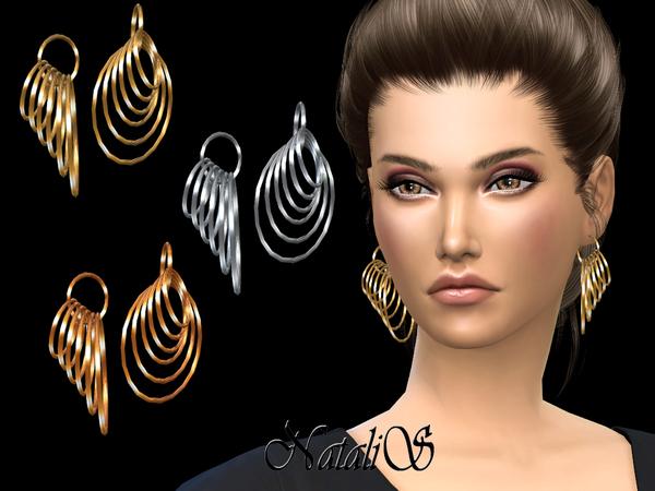 Sims 4 Multi hoops earrings by NataliS at TSR