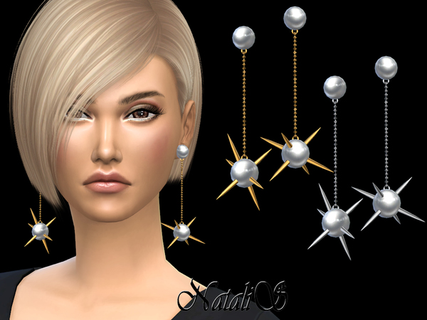 Spikes pearl drop earrings by NataliS at TSR image 376 Sims 4 Updates