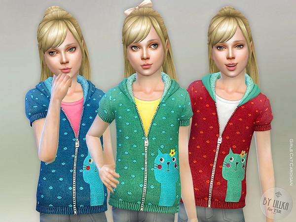 Sims 4 Girls Cat Cardigan by lillka at TSR