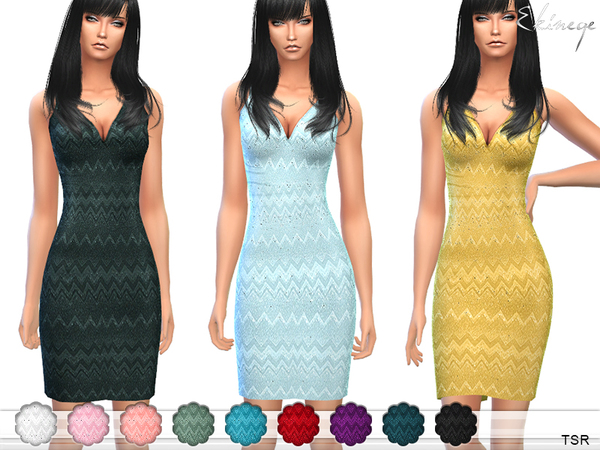 Sims 4 Zig Zag Pattern Dress by ekinege at TSR