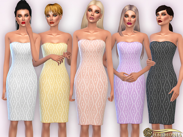 Sims 4 Diamond Patterned Strapless Dress by Harmonia at TSR