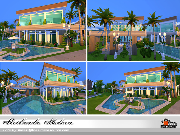 Sims 4 Sirikanda Modern house No CC by autaki at TSR