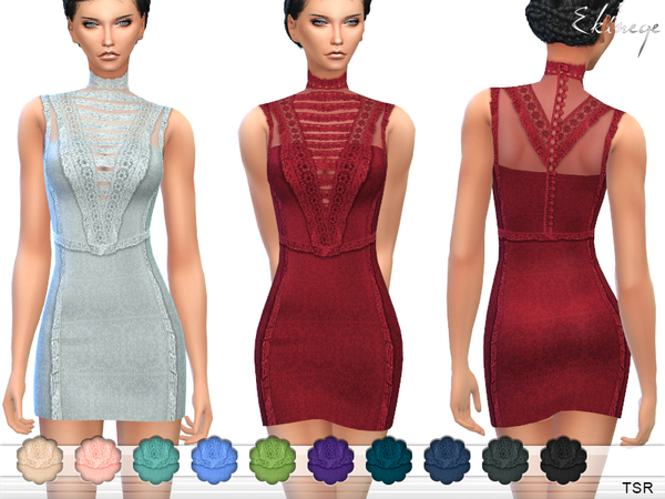 Sims 4 Lace Trim Dress by ekinege at TSR