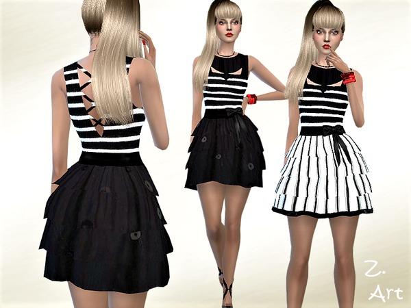 Sims 4 TrendZ 05 modern stripes with ruffled skirt by Zuckerschnute20 at TSR