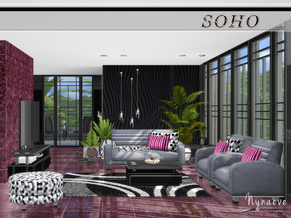 Soho Living Room by NynaeveDesign at TSR image 528 Sims 4 Updates