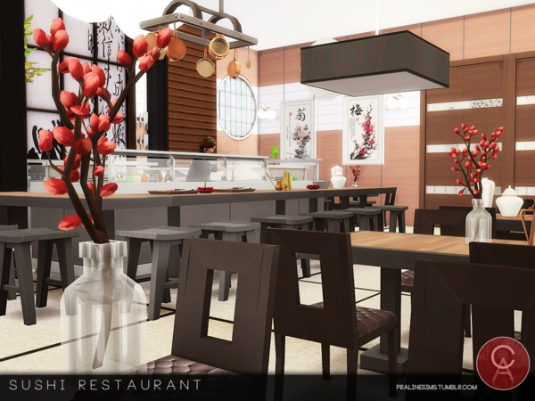 Sushi Restaurant by Pralinesims at TSR image 554 Sims 4 Updates