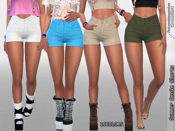 Sims 4 Summer Denim Shorts by Pinkzombiecupcakes at TSR