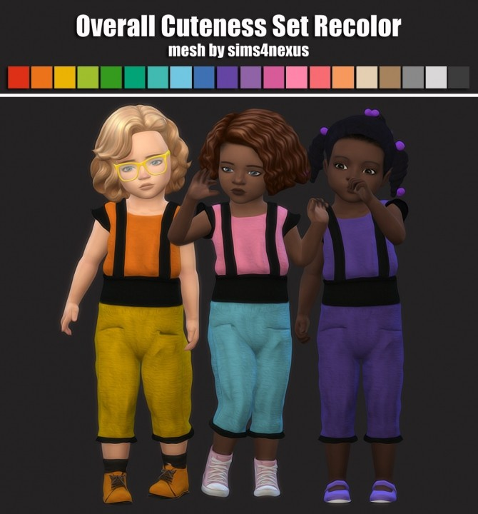 Sims 4 Overall Cuteness Set Recolor For Toddlers at Maimouth Sims4