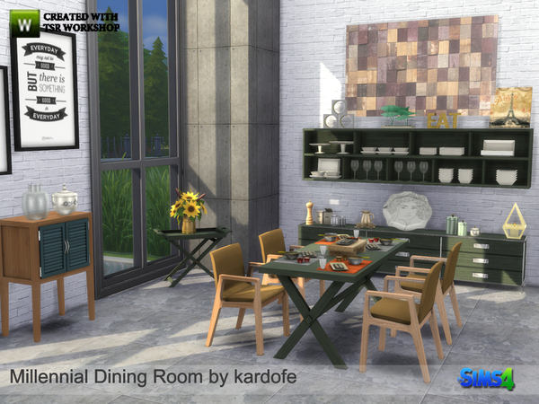 Millennial Dining Room by kardofe at TSR image 6100 Sims 4 Updates